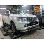 Передняя защита одинарная для Mitsubishi L200 Can Otomotiv d76 (нержавеющая сталь)